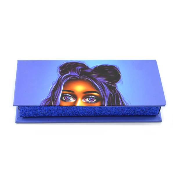Blue rectangular clamshell box