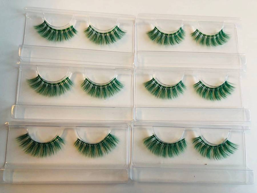 green Colored Eyelashes