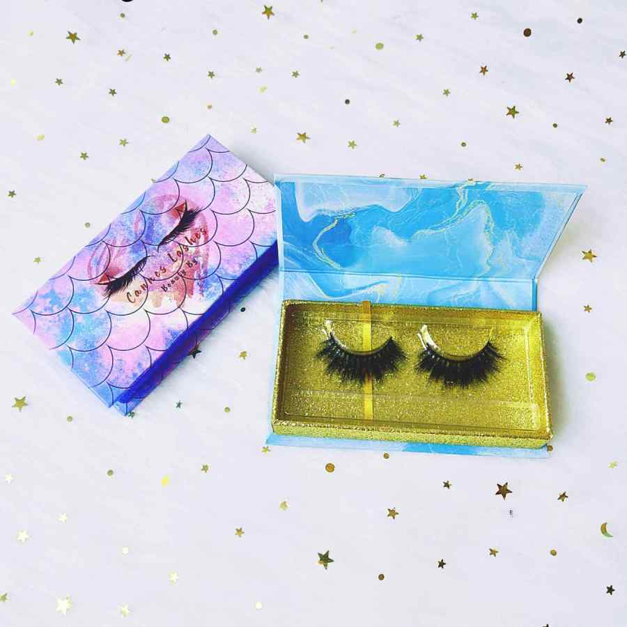 Labeling Eyelash Packaging Boxes ECO-friendly Holographic Square Eyelash Packaging Boxes