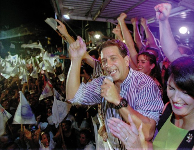 Pedro J. Rosselló Jr., M.D. '70, celebrates his second gubernatorial victory in Puerto Rico on Election Day 1996.
