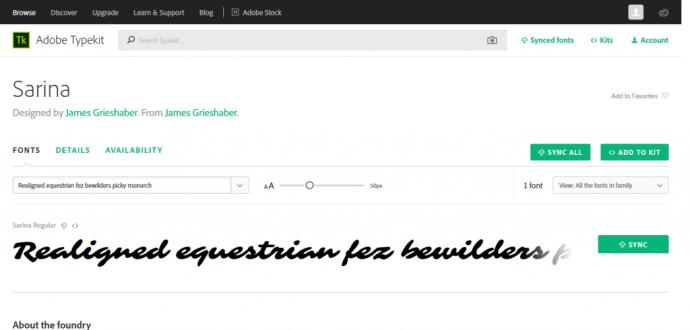 在 Adobe Typekit 內選擇要 Sync 的字體
