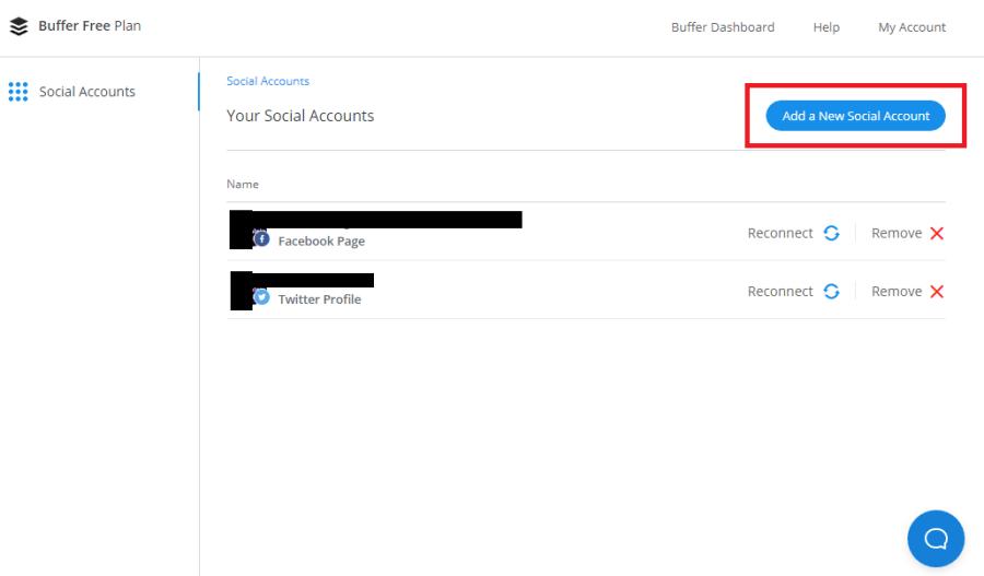 連結 Buffer 至社交媒體專頁 - 選擇「Add a New Social Account」