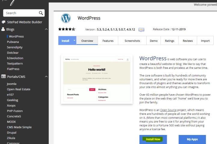 在 Softaculous 的 WordPress 基本介紹頁面。點擊 Install Now,就會進入下一步。