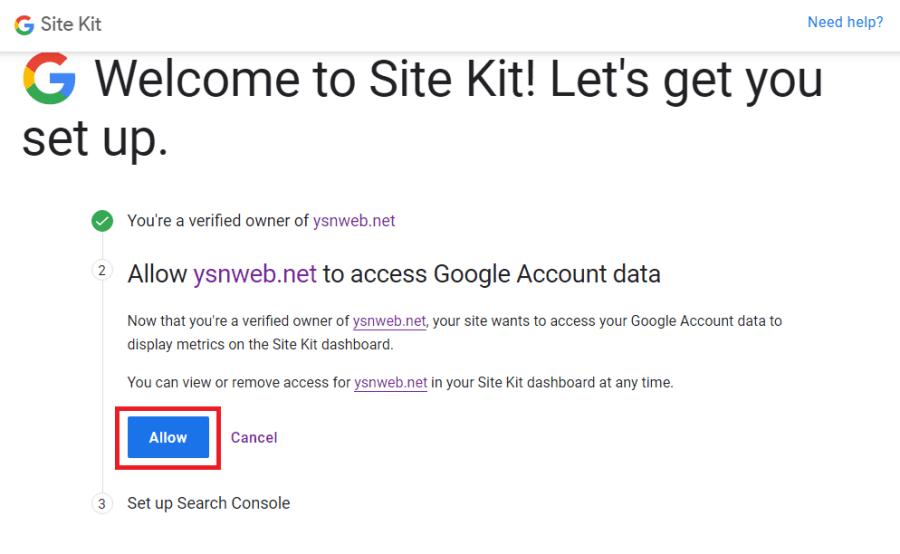 完成檢證,就可允許網站獲取 Google 服務的數據。