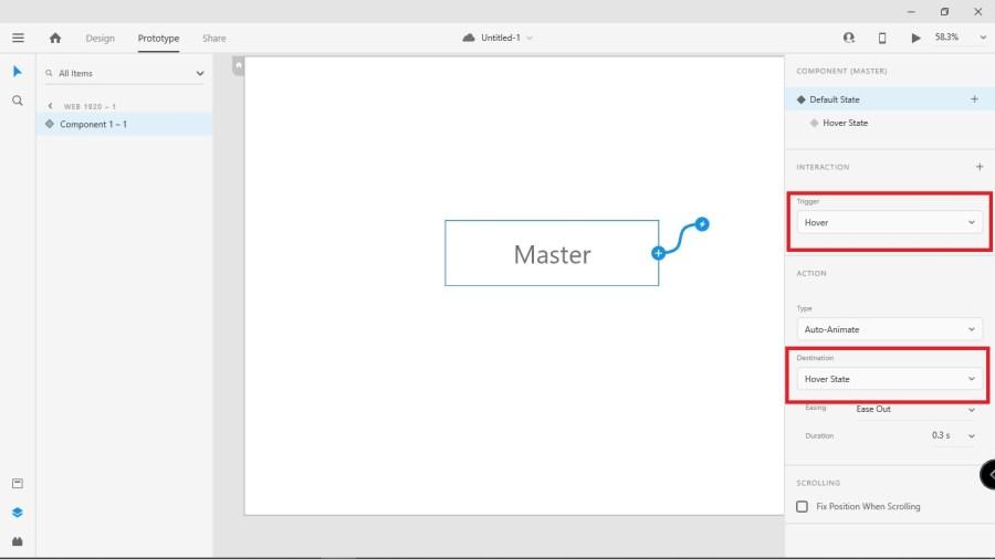 建立 Hover State 的物件會自動加上 Interaction