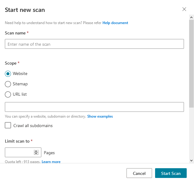 Bing Webmaster Tools 的 Site Scan 功能可選擇掃瞄的範圍、掃瞄網頁數目等