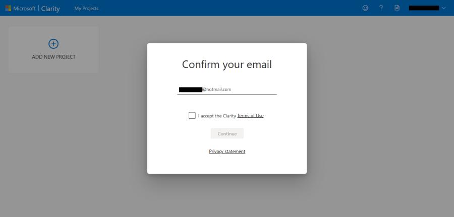 確認 Microsoft Clarity 所需電郵