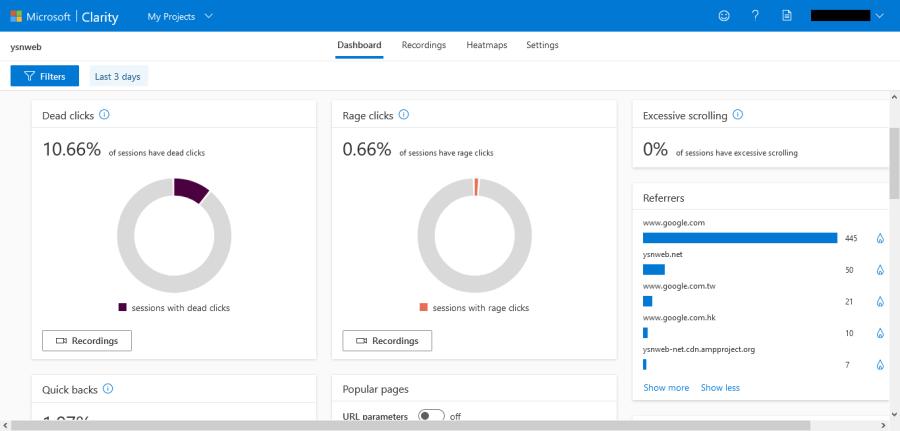 Microsoft Clarity 點擊分析數據
