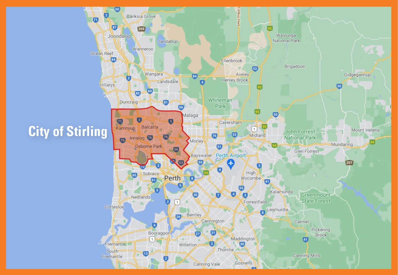 Map of City of Stirling