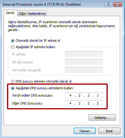 Yasaklı Sitelere Girmek - DNS Ayarlarını Vista'da Değiştirmek (3/3)