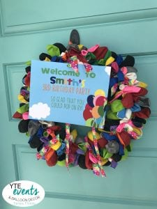 Balloon Greeting for birthday party wreath