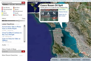 "If we search for ""oil spill"" in while in San Franciso, we get results for the Cosco Busan spill form 2007"