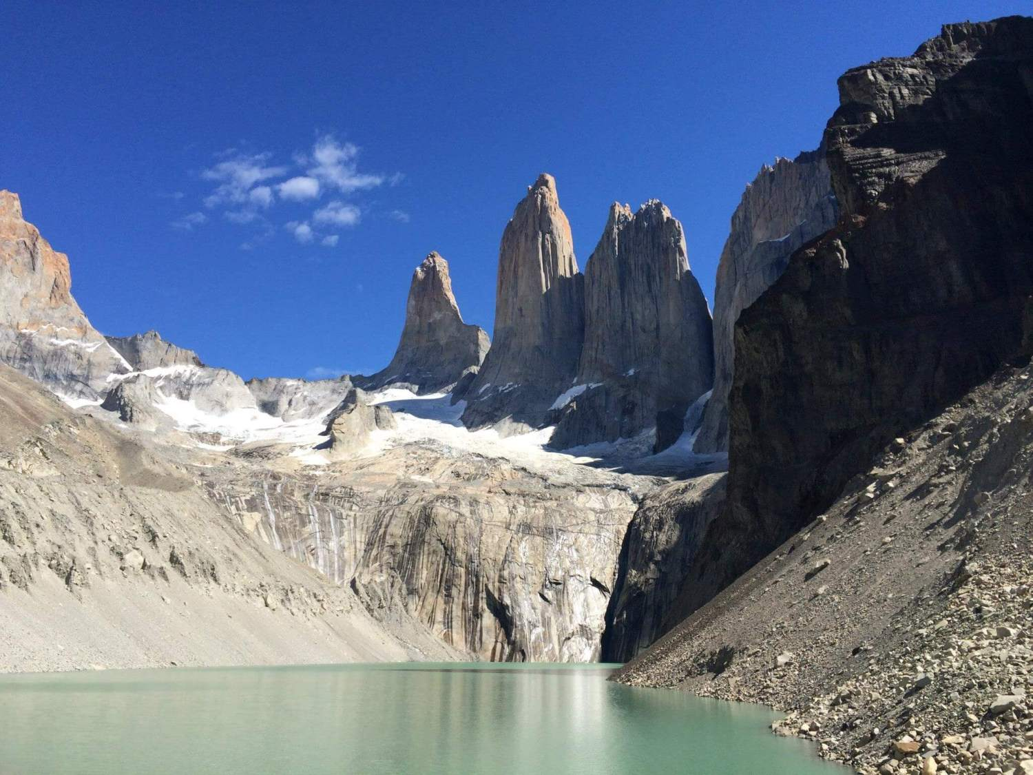 base of the towers, Torres del Paine national park Chile, Paine towers sunny day, clear sky base of towers
