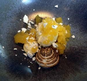 Citrus Granita with Lemon Verbena Meringues and Warm Citrus Beignets at The Ledbury