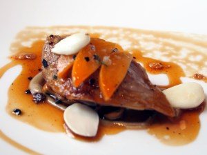 Roast Quail Breast with Apricots and Fresh Almonds