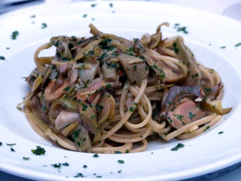 flat spaghetti sautéed with artichokes, white wine, garlic and chilli | Olivocarne | Yvanne Teo
