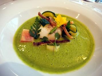 Egg Courgette Basil & Parmesan Soup at Pollen St Social | ytTastes | Yvanne Teo
