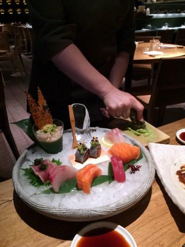 sashimi platter & fresh wasabi being grated at Roka Aldwych | ytTastes | Yvanne Teo