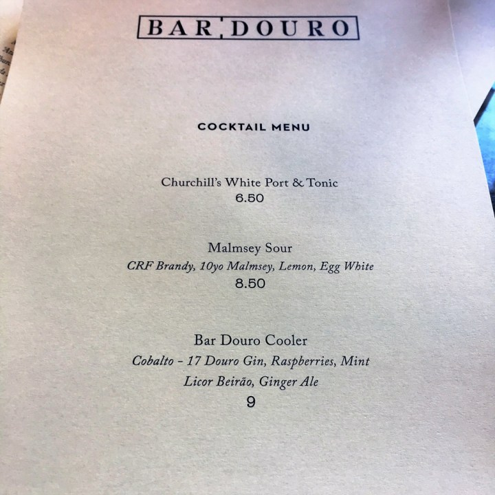 cocktail menu | Bar Douro | Yvanne Teo