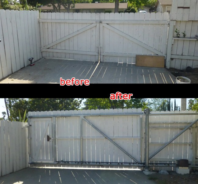 Replace the old double wood swing gate what is manual with automatic cantilever sliding gate