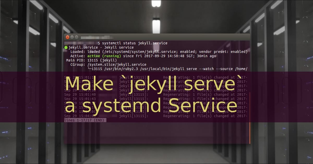 jekyll serve as a systemd service