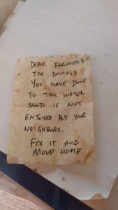 Note left by residents who live nearby