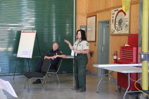 Jeanne Pincha-Tulley leading the 2013 Nevada County Interagency Wildfire Simulation