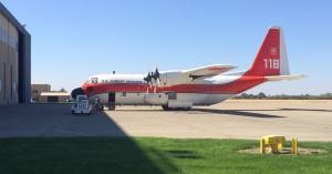 New to the fleet, this HC-130H, Hercules, is an aerial firefighting workhorse. Area residents and visitors to the Tahoe National Forest may see this airtanker going through its training maneuvers in the next few weeks. The missions are an annual training requirement for pilots who conduct aerial firefighting operations. (Photo Credit US Forest Service).