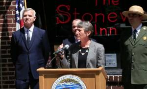 Secretary Jewell announcing the theme study at the Stonewall Inn, May 30, 2014.