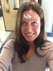 Julie Stanger, an early morning voter