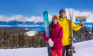 """Tahoe Big Mountain Skiers Cody Townsend and Elyse Saugstad are featured in the """"Plates for Powder"""" Campaign"""