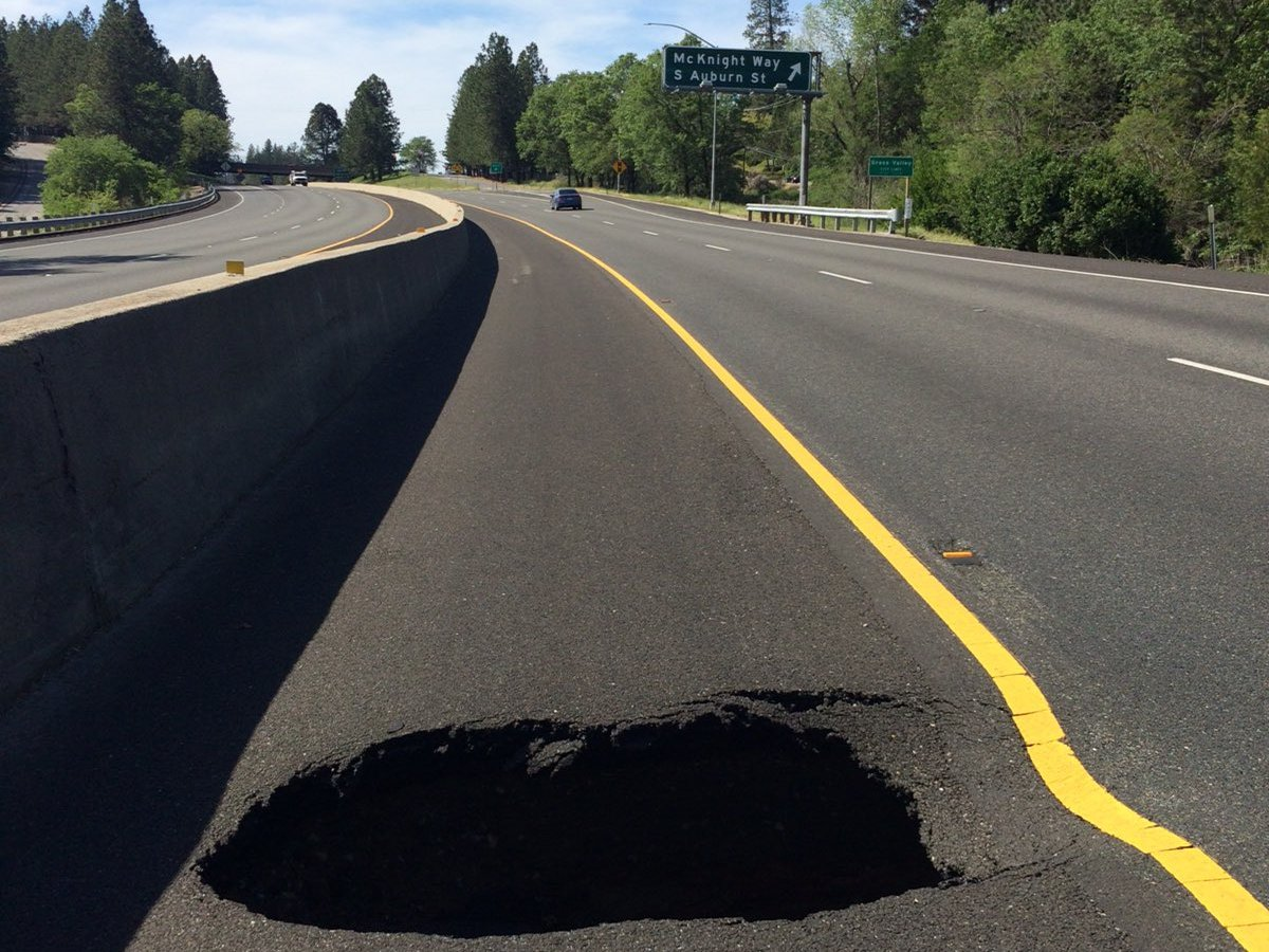Highway with sinkhole