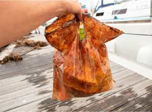 An oxo-biodegradable plastic bag could still hold 5 pounds of groceries without tearing after being submerged in the ocean for 3 years. Credit: American Chemical Society