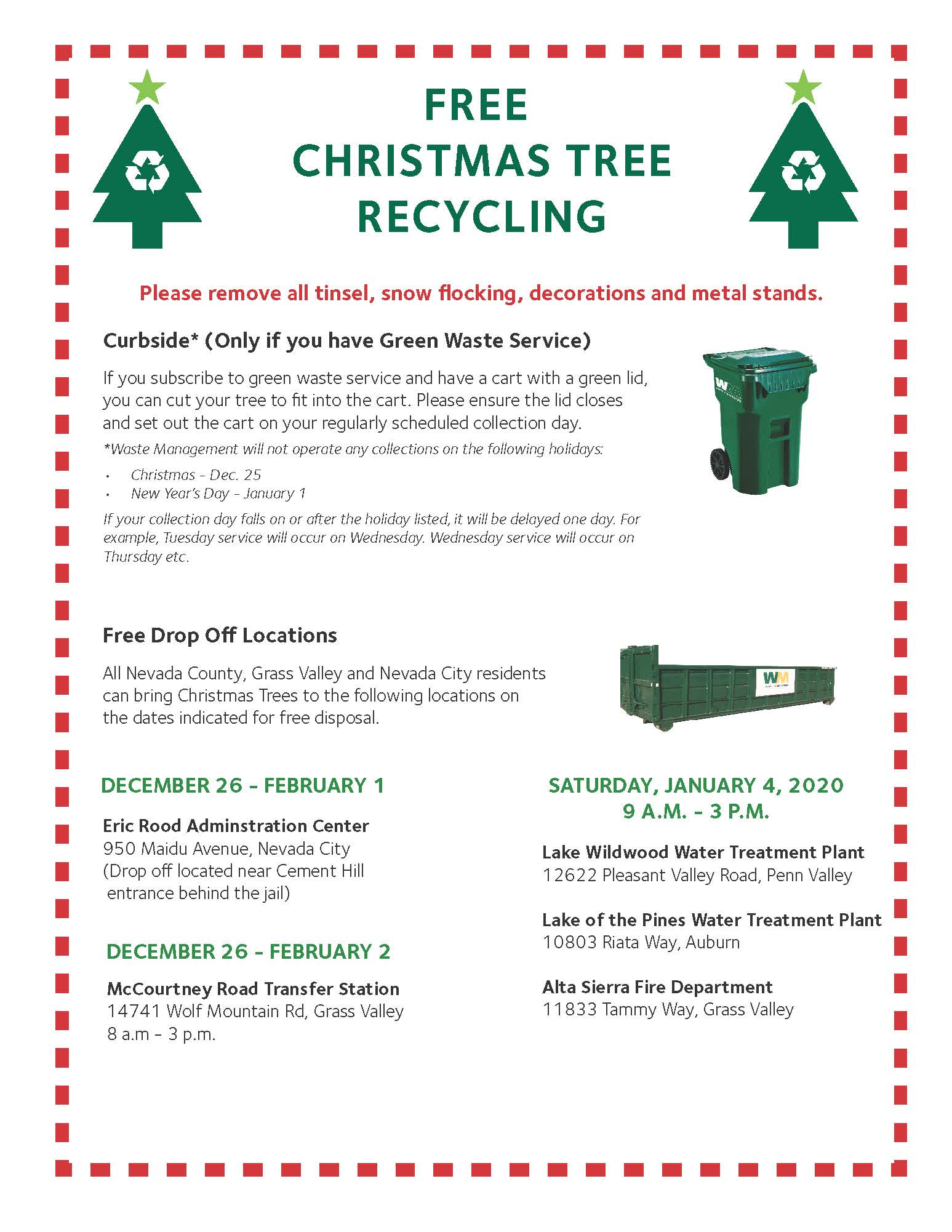 Nevada County Christmas Tree Recycling Times And Locations Yubanet