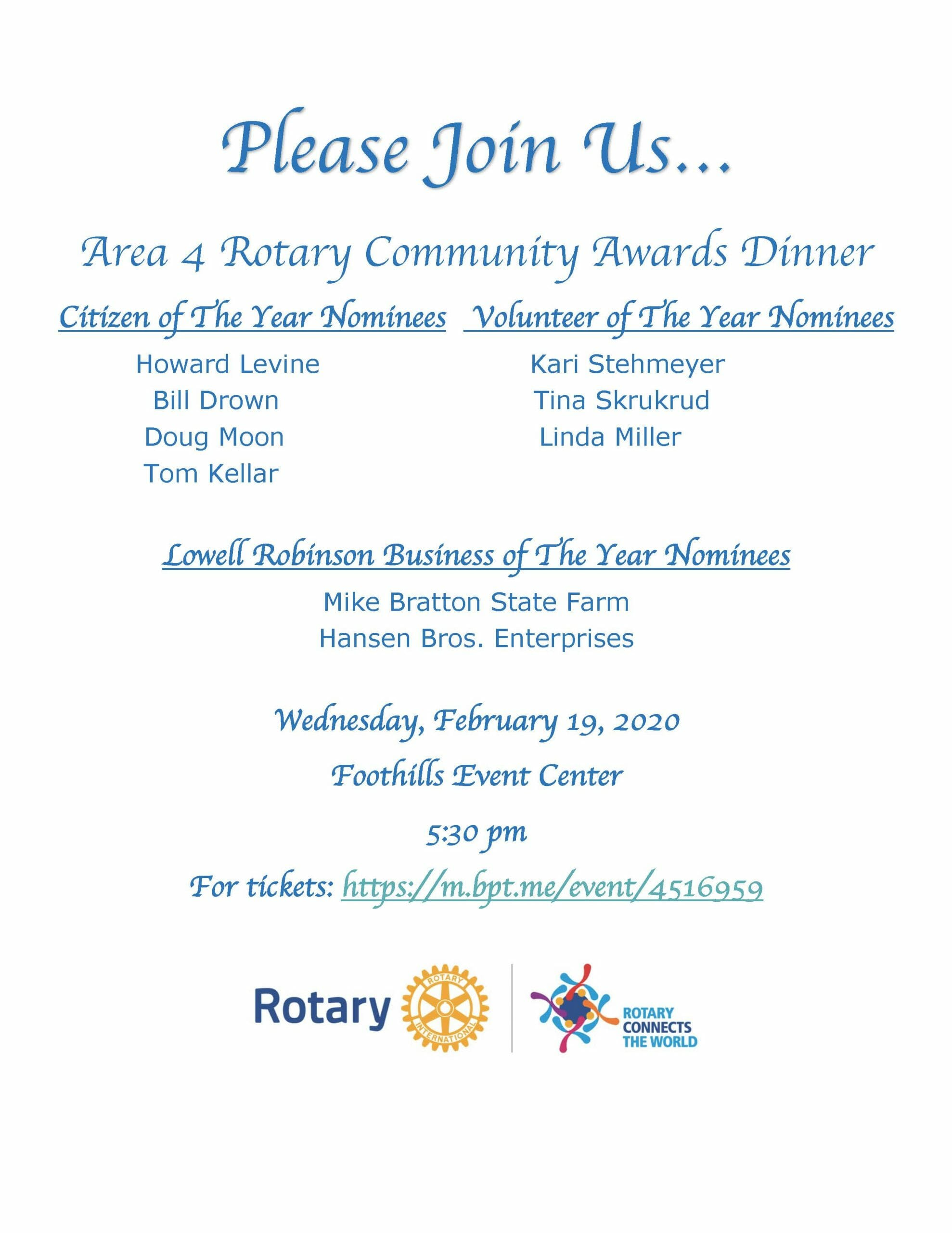 An Invitation To The 2020 Annual Community Wide Rotary Awards Yubanet