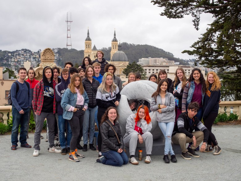 The current Ghidotti senior class in early 2020 on a college trip to USF, right before the COVID pandemic.