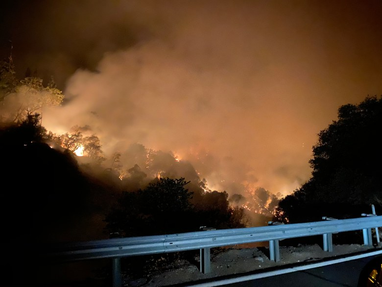 Night view of the Jones Fire in the South Yuba River canyon