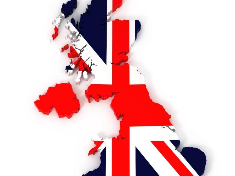 United Kingdom map with flag