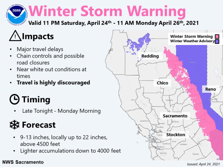 Winter storm warning Saturday evening through Monday morning