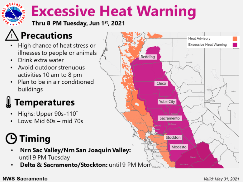 Excessive heat warning map