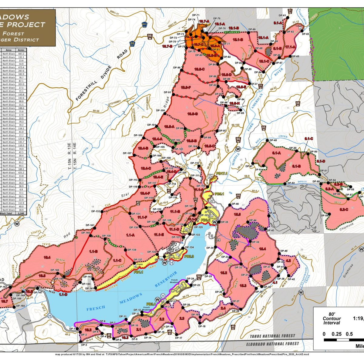 French Meadows prescribed burn map