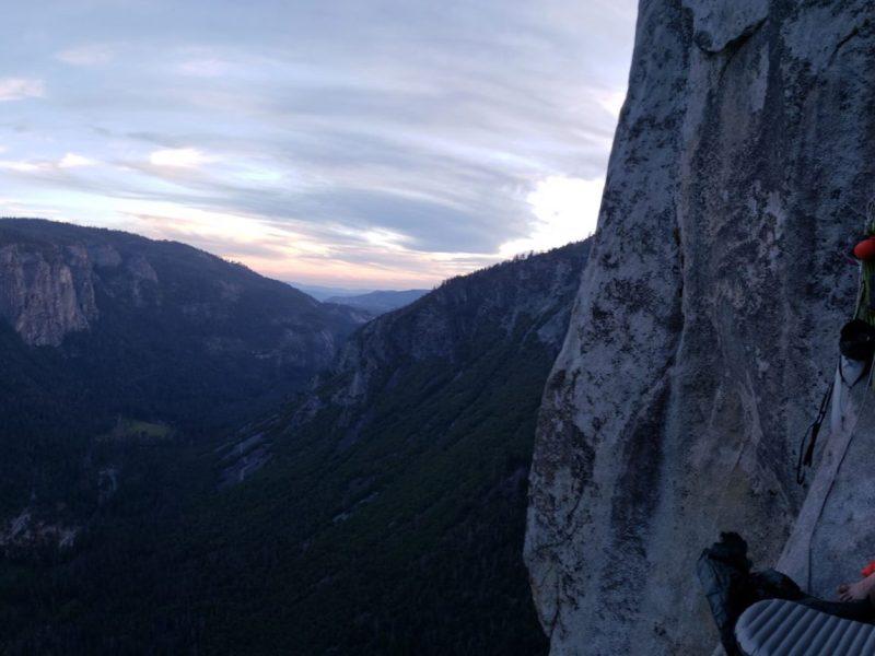 Climbers big wall camping on El Capitan in Yosemite National Park.
