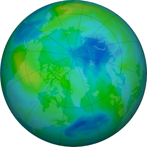 A NASA false-color view of total ozone over the Arctic pole on Oct. 3, 2021. The purple and blue colors show areas of least ozone, and yellows and reds show areas of more ozone. (Image by NASA.)