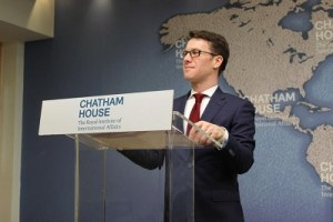 Dr Hoxhaj pictured hosting a research event at Chatham House based on his British Academy Rising Star Award on Challenges to the Rule of Law in the Western Balkans