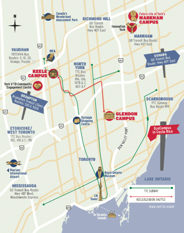 Graphic of map of the GTA that shows important locations by York University