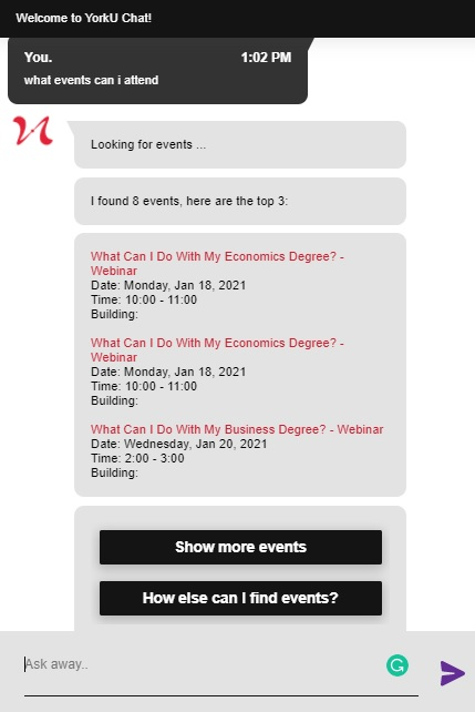 """Screenshot of SAVY with a response to the question """"What events can I attend?"""""""