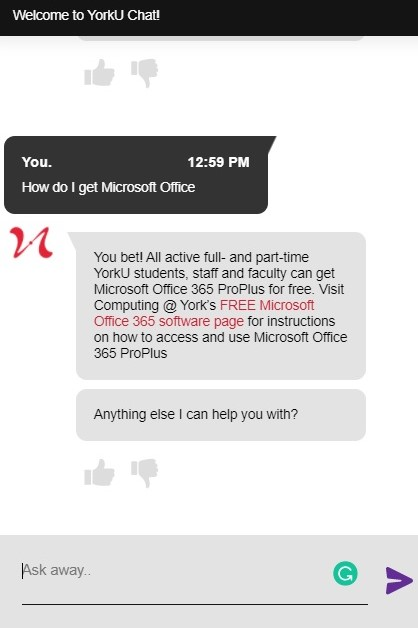 """Screenshot of SAVY with a response to the question """"How do I get Microsoft Office?"""""""