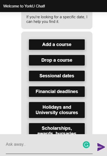 Screenshot of SAVY with options for important dates