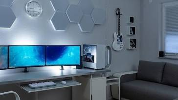 Crisp White Neon Gaming Computer Room Stup