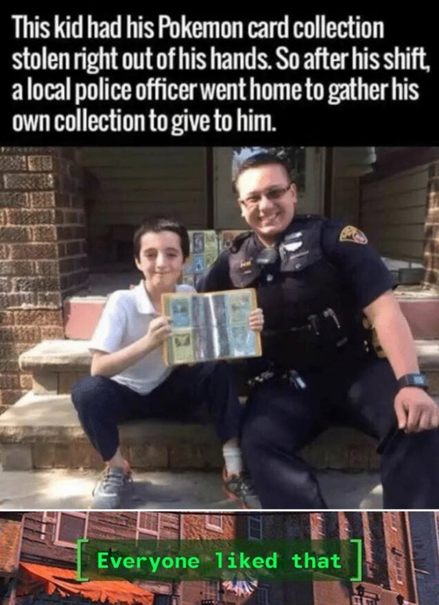 Nice cop gives away his pokemon collection